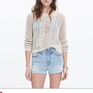 MADEWELL Summerstich Pullover Sweater Cream Sz XS